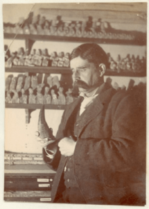 Alfred Leeds with a pliosaur tooth. Image courtesy of the Leeds Family.